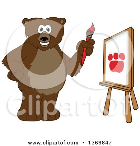 Clipart of a Grizzly Bear School Mascot Character Painting a Paw on a Canvas - Royalty Free Vector Illustration by Toons4Biz