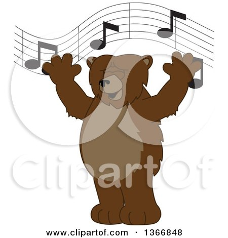 Clipart of a Grizzly Bear School Mascot Character Singing Under Music Notes - Royalty Free Vector Illustration by Toons4Biz