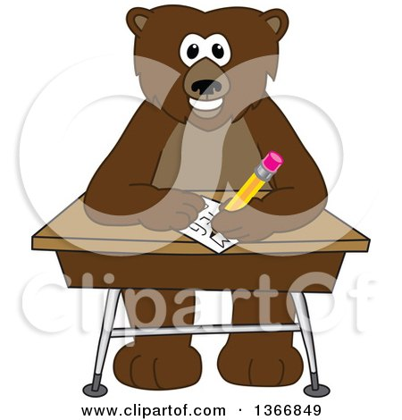 Clipart of a Grizzly Bear School Mascot Character Writing at a Desk - Royalty Free Vector Illustration by Toons4Biz