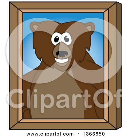 Clipart of a Grizzly Bear School Mascot Character Portrait - Royalty Free Vector Illustration by Toons4Biz