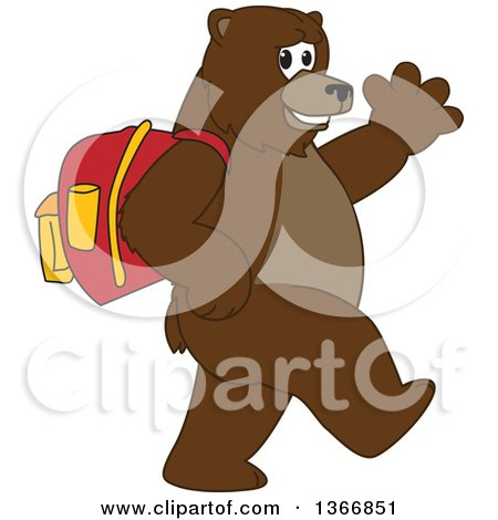 Clipart of a Grizzly Bear School Mascot Character Wearing a Backpack, Walking and Waving - Royalty Free Vector Illustration by Toons4Biz