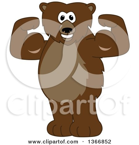 Clipart of a Grizzly Bear School Mascot Character Flexing His Muscles - Royalty Free Vector Illustration by Toons4Biz
