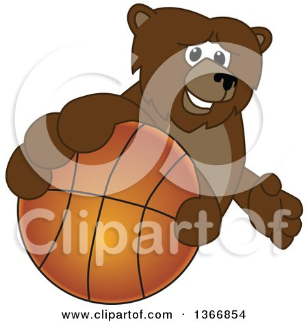 Clipart of a Grizzly Bear School Mascot Character Grabbing a Basketball - Royalty Free Vector Illustration by Toons4Biz