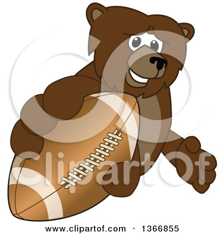 Clipart of a Grizzly Bear School Mascot Character Grabbing an American Football - Royalty Free Vector Illustration by Toons4Biz