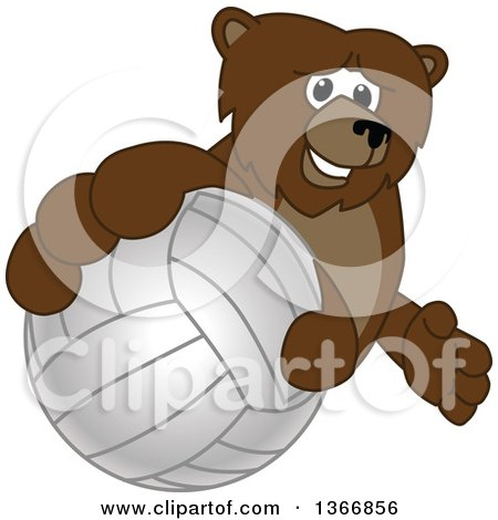 Clipart of a Grizzly Bear School Mascot Character Grabbing a Volleyball - Royalty Free Vector Illustration by Toons4Biz