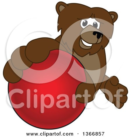 Clipart of a Grizzly Bear School Mascot Character Grabbing a Ball - Royalty Free Vector Illustration by Toons4Biz