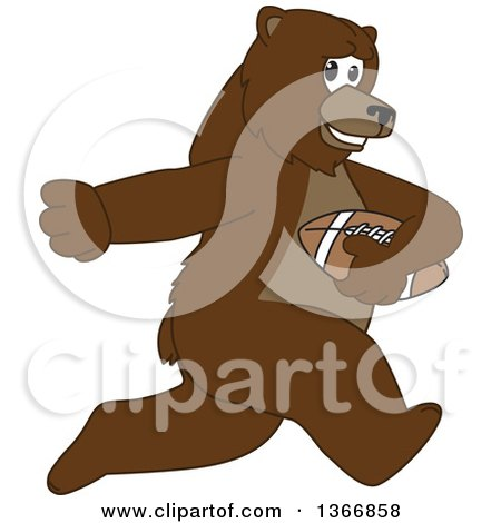 Clipart of a Grizzly Bear School Mascot Character Running with an American Football - Royalty Free Vector Illustration by Toons4Biz