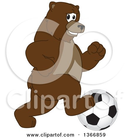 Clipart of a Grizzly Bear School Mascot Character Playing Soccer - Royalty Free Vector Illustration by Toons4Biz