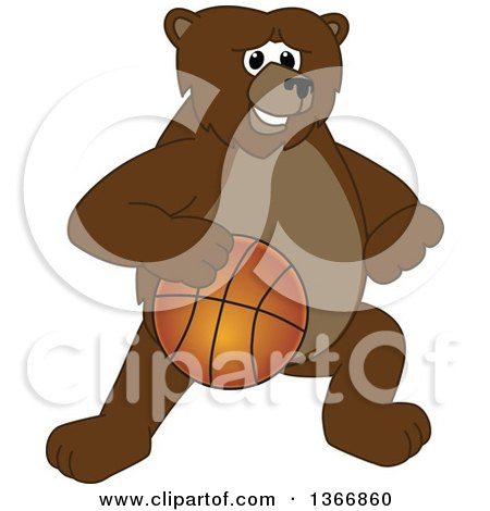 Clipart of a Grizzly Bear School Mascot Character Dribbling a Basketball - Royalty Free Vector Illustration by Toons4Biz