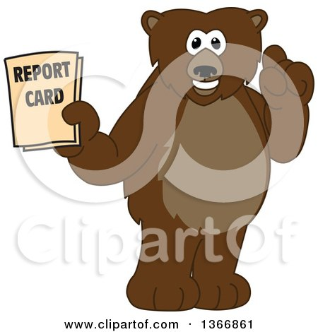 Clipart of a Grizzly Bear School Mascot Character Holding up a Finger and a Report Card - Royalty Free Vector Illustration by Toons4Biz