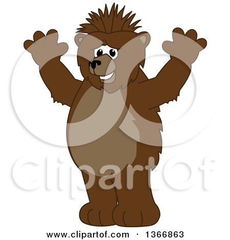 Clipart of a Grizzly Bear School Mascot Character with a Mohawk, Holding up His Paws - Royalty Free Vector Illustration by Toons4Biz