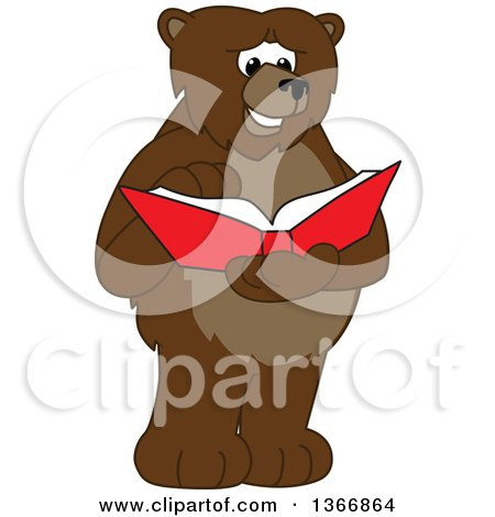 Clipart of a Grizzly Bear School Mascot Character Reading a Book - Royalty Free Vector Illustration by Toons4Biz