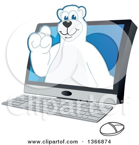 Clipart of a Polar Bear School Mascot Character Emerging from a Desktop Computer - Royalty Free Vector Illustration by Toons4Biz