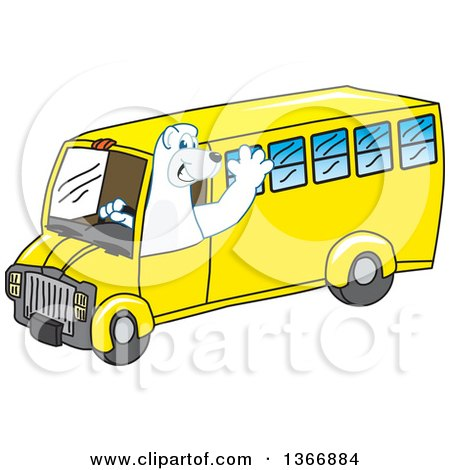 Clipart of a Polar Bear School Mascot Character Waving and Driving a School Bus - Royalty Free Vector Illustration by Toons4Biz