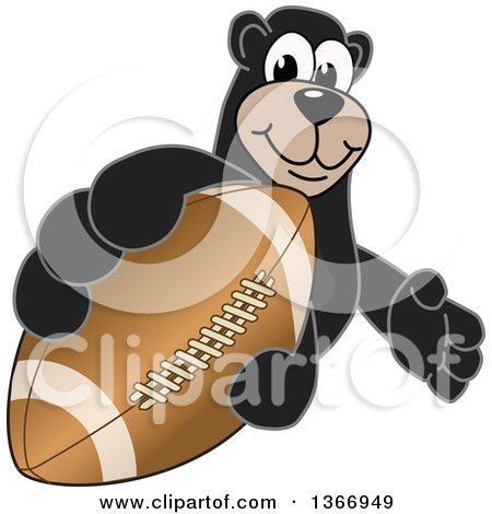 Clipart of a Black Bear School Mascot Character Grabbing an American Football - Royalty Free Vector Illustration by Toons4Biz