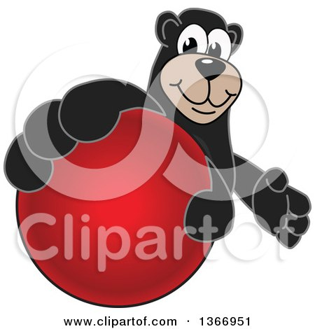 Clipart of a Black Bear School Mascot Character Grabbing a Dodgeball - Royalty Free Vector Illustration by Toons4Biz