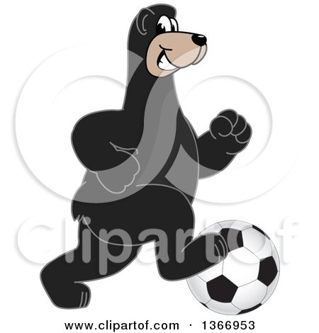 Clipart of a Black Bear School Mascot Character Playing Soccer - Royalty Free Vector Illustration by Toons4Biz