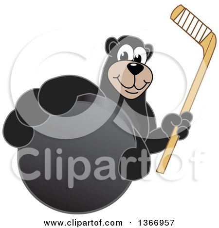 Clipart of a Black Bear School Mascot Character Grabbing a Puck and Holding a Hockey Stick - Royalty Free Vector Illustration by Toons4Biz
