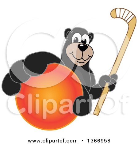 Clipart of a Black Bear School Mascot Character Grabbing a Ball and Holding a Hockey Stick - Royalty Free Vector Illustration by Toons4Biz