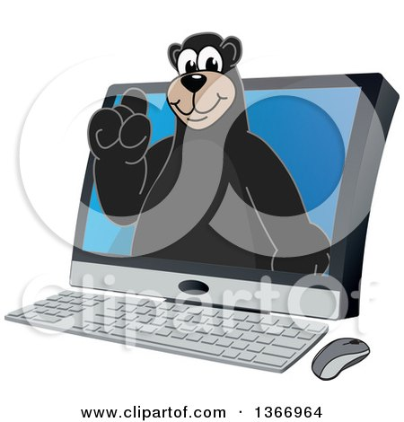 Clipart of a Black Bear School Mascot Character Emerging from a Desktop Computer Screen - Royalty Free Vector Illustration by Toons4Biz