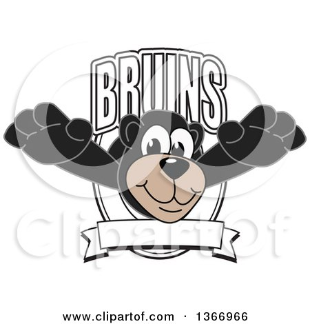 Clipart of a Black Bear School Mascot Character Leaping Outwards from a Bruins Shield - Royalty Free Vector Illustration by Toons4Biz