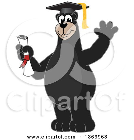 Clipart of a Black Bear School Mascot Character Graduate Holding a Diploma and Waving - Royalty Free Vector Illustration by Toons4Biz