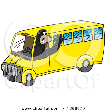 Clipart of a Black Bear School Mascot Character Waving and Driving a School Bus - Royalty Free Vector Illustration by Toons4Biz
