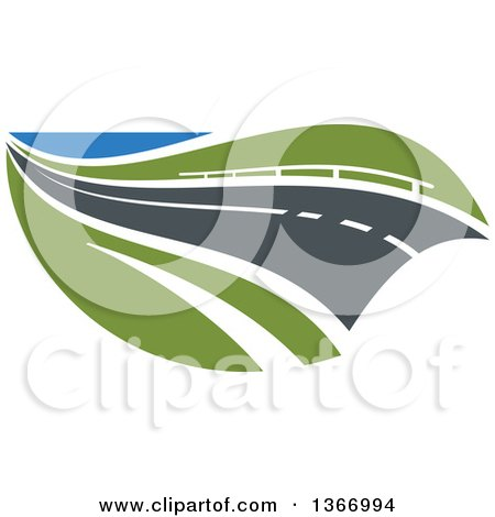 Clipart of a Two Lane Straightaway Highway Road - Royalty Free Vector Illustration by Vector Tradition SM