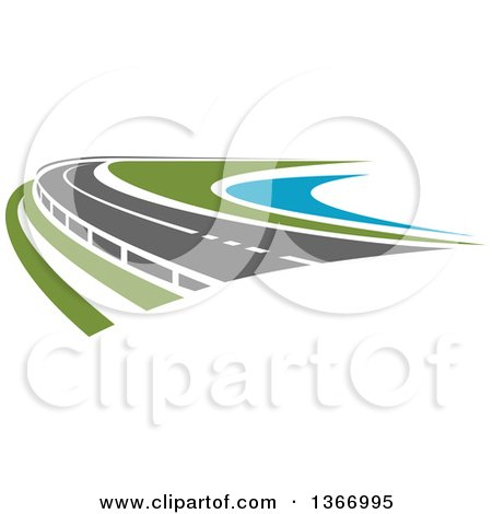 Clipart of a Curving Two Lane Road - Royalty Free Vector Illustration by Vector Tradition SM
