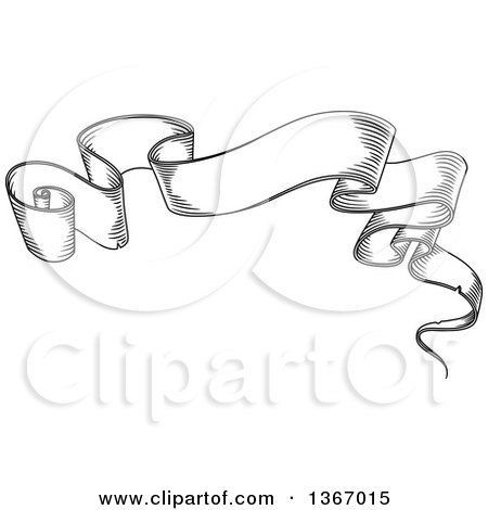 Clipart of a Vintage Black and White Engraved Styled Blank Ribbon Banner - Royalty Free Vector Illustration by Vector Tradition SM