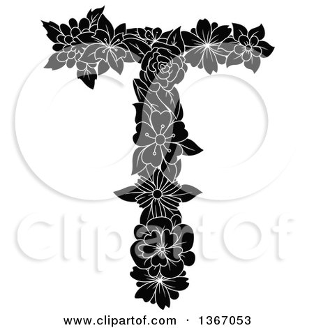 Clipart of a Black and White Floral Uppercase Alphabet Letter T - Royalty Free Vector Illustration by Vector Tradition SM