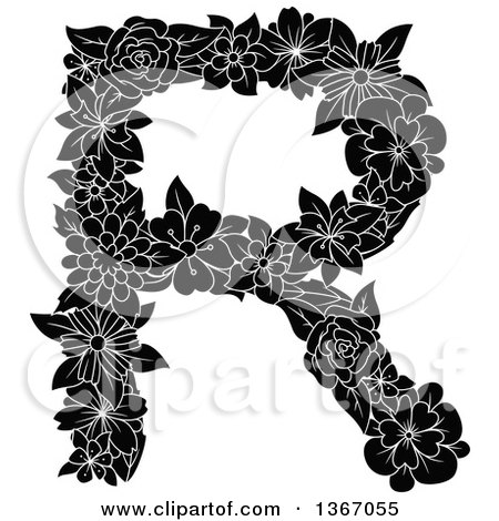 Clipart of a Black and White Floral Uppercase Alphabet Letter R - Royalty Free Vector Illustration by Vector Tradition SM