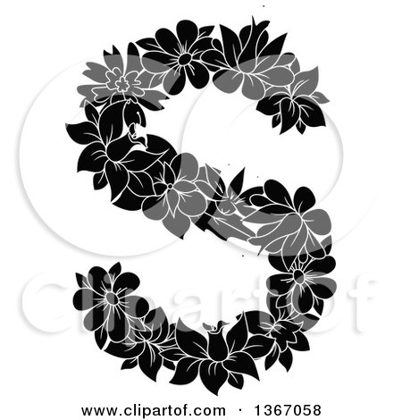 Clipart of a Black and White Floral Lowercase Alphabet Letter S - Royalty Free Vector Illustration by Vector Tradition SM