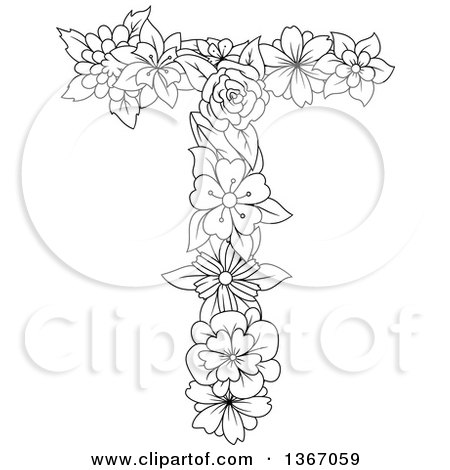 Clipart of a Black and White Lineart Floral Uppercase Alphabet Letter T - Royalty Free Vector Illustration by Vector Tradition SM