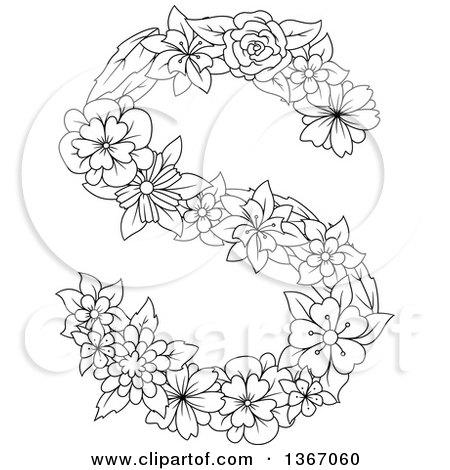 Clipart of a Black and White Lineart Floral Uppercase Alphabet Letter S - Royalty Free Vector Illustration by Vector Tradition SM