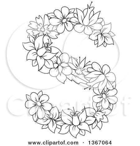 Clipart of a Black and White Lineart Floral Lowercase Alphabet Letter S - Royalty Free Vector Illustration by Vector Tradition SM