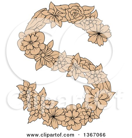 Clipart of a Tan Floral Uppercase Alphabet Letter S - Royalty Free Vector Illustration by Vector Tradition SM