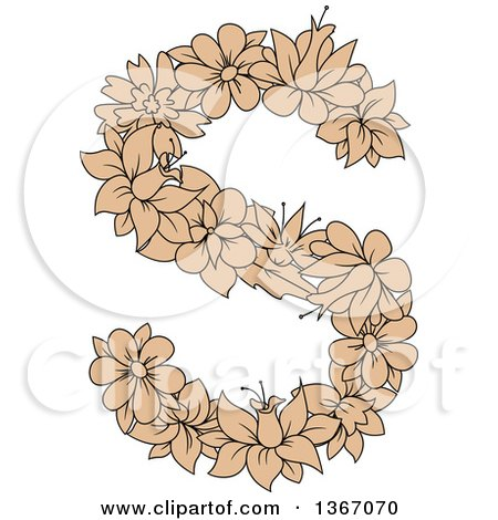 Clipart of a Tan Floral Lowercase Alphabet Letter S - Royalty Free Vector Illustration by Vector Tradition SM