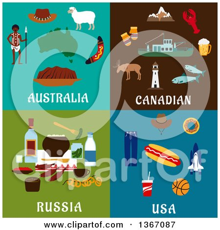 Clipart of Australia, Canadian, Russia, and Usa Designs - Royalty Free Vector Illustration by Vector Tradition SM