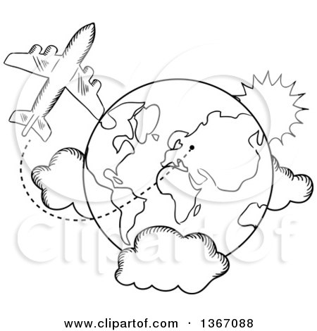 Clipart of a Black and White Sketched Airplane and Earth - Royalty Free Vector Illustration by Vector Tradition SM