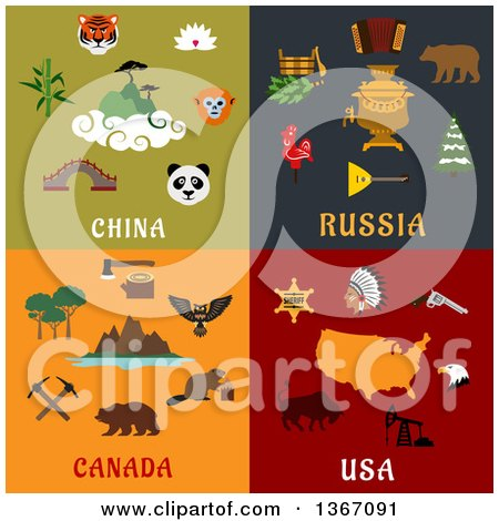 Clipart of China, Russia, Canada and USA Designs - Royalty Free Vector Illustration by Vector Tradition SM