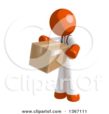 Clipart of an Orange Man Doctor or Veterinarian Holding a Box - Royalty Free Illustration by Leo Blanchette
