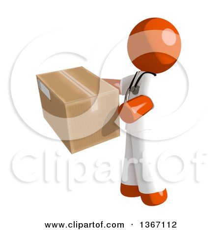 Clipart of an Orange Man Doctor or Veterinarian Holding a Box, Facing Left - Royalty Free Illustration by Leo Blanchette