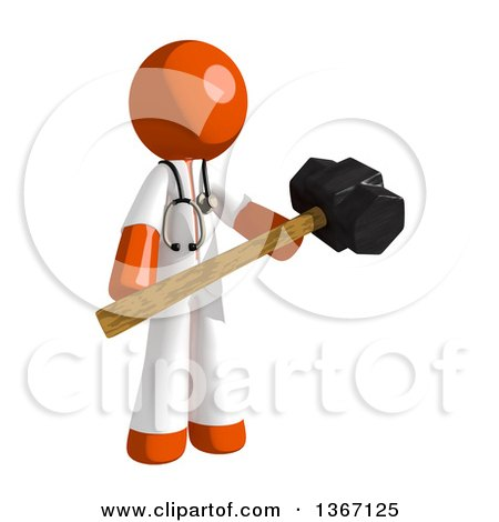 Clipart of an Orange Man Doctor or Veterinarian Holding a Sledgehammer - Royalty Free Illustration by Leo Blanchette