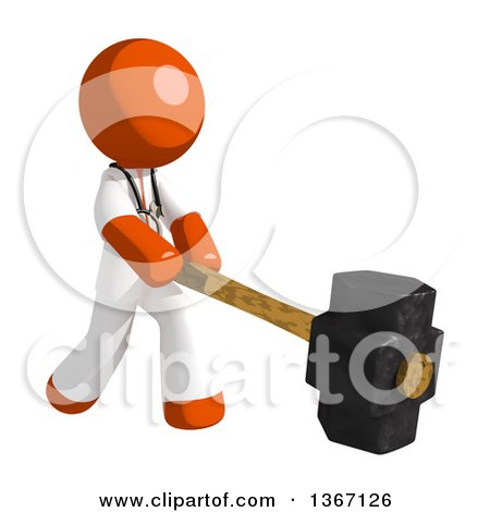 Clipart of an Orange Man Doctor or Veterinarian Swinging a Sledgehammer - Royalty Free Illustration by Leo Blanchette
