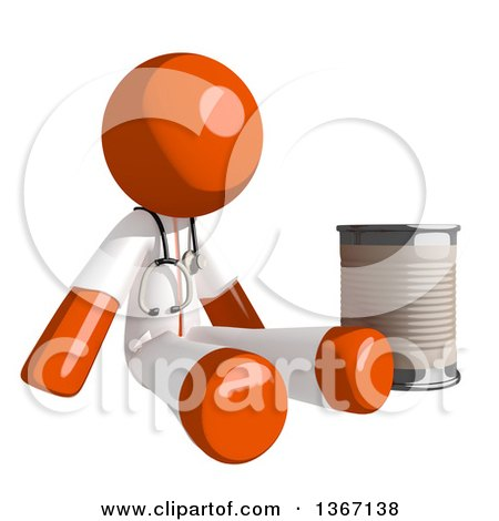 Clipart of an Orange Man Doctor or Veterinarian Beggar Sitting with a Can - Royalty Free Illustration by Leo Blanchette