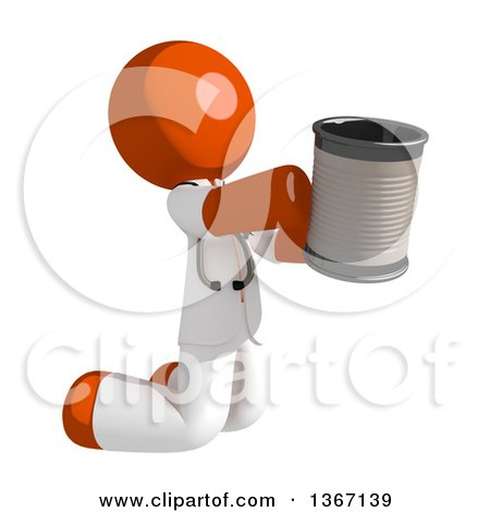 Clipart of an Orange Man Doctor or Veterinarian Beggar Kneeling with a Can - Royalty Free Illustration by Leo Blanchette