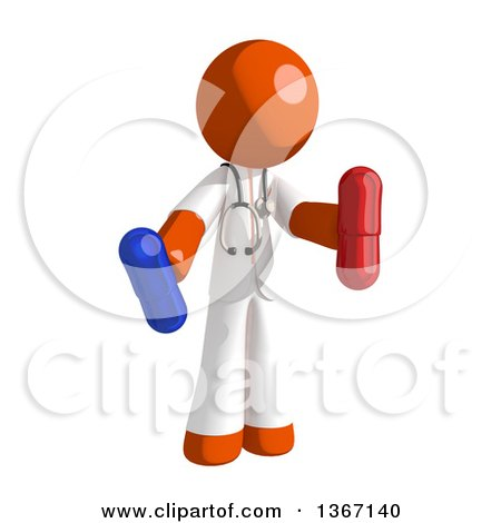 Clipart of an Orange Man Doctor or Veterinarian Holding Pills - Royalty Free Illustration by Leo Blanchette