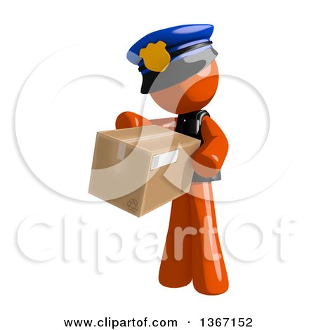 Clipart of an Orange Man Police Officer Carring a Box - Royalty Free Illustration by Leo Blanchette