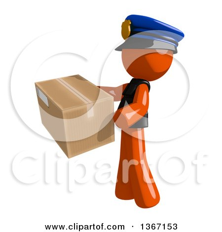 Clipart of an Orange Man Police Officer Carring a Box, Facing Left - Royalty Free Illustration by Leo Blanchette